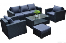 PAS-060B/5PC Sectional Outdoor Wicker Living Sofa Set with Ottoman
