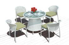 PAD-1320/5PCS Popular Outdoor White Rattan Round Table And Chairs