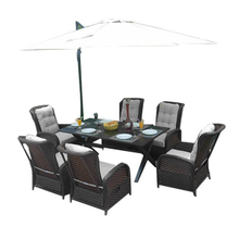 PAD-1802/Outdoor Patio and Garden Wicker 6 Seats Royal Dining Table and Rocking Chair