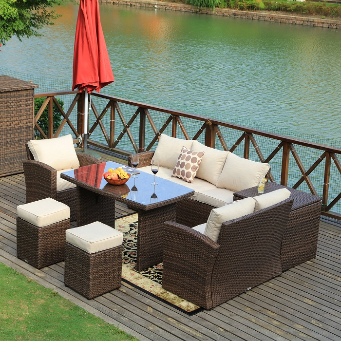 8 Seat Detachable Patio Sofa Set with Side Table