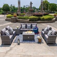 Outdoor Patio Rattan Wicker Gas Fire Pit Furniture Sofa Sets
