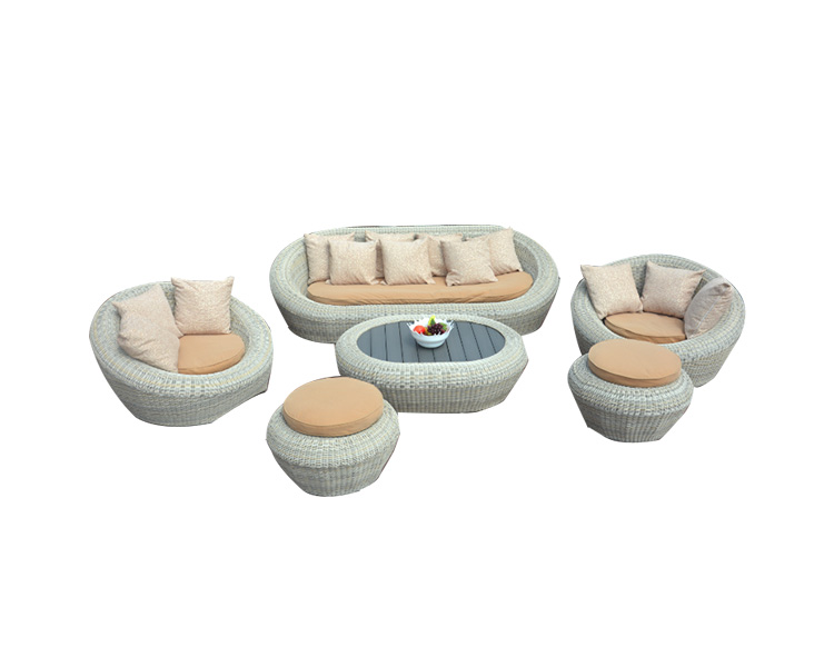 Round Rattan Sofa Set